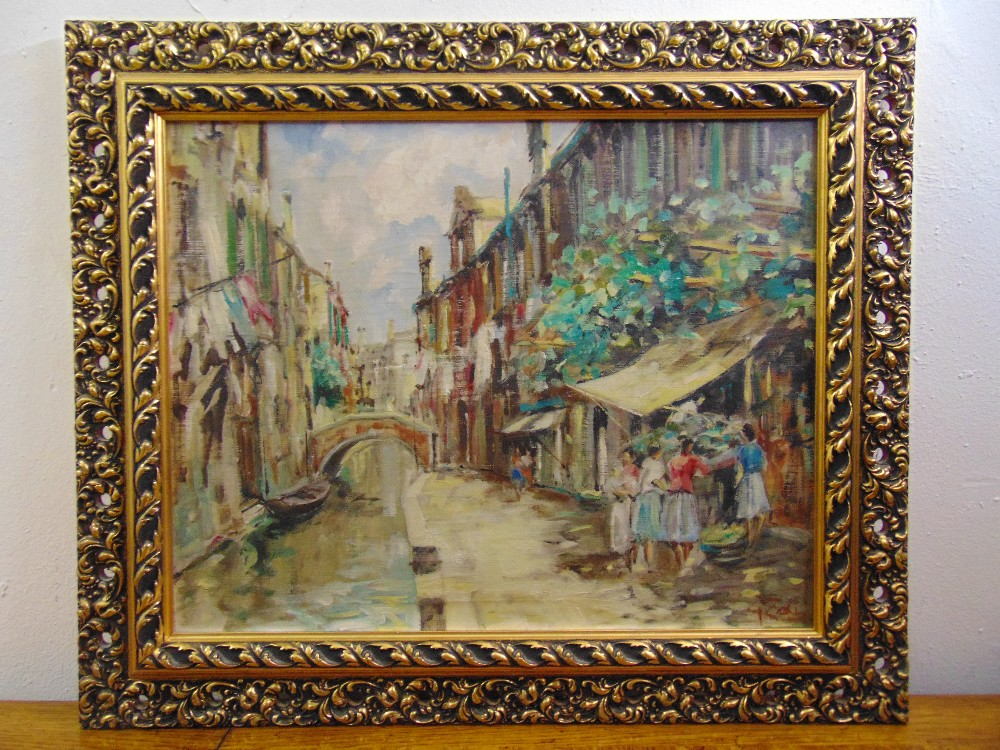 Lot 88 - A framed oil on canvas of a Venetian canal scene, indistinctly signed bottom right, 39.5 x 50cm