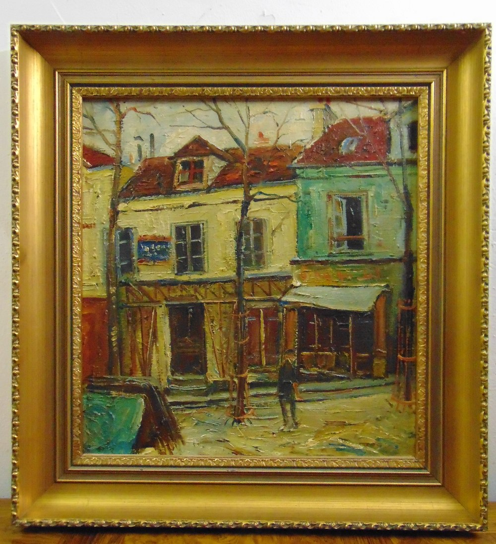 Lot 87 - Charles Feola framed oil on canvas of a Parisienne street scene, 45 x 42cm