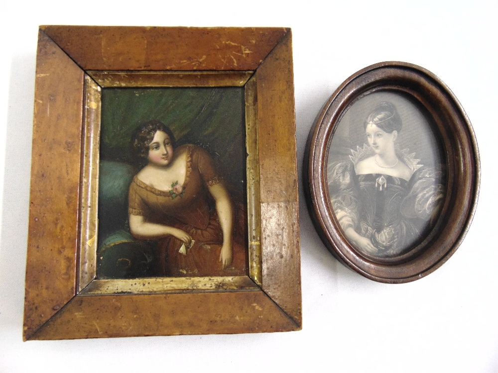Lot 95 - An antique miniature oil on board of a reclining lady and an oval framed print of a society lady