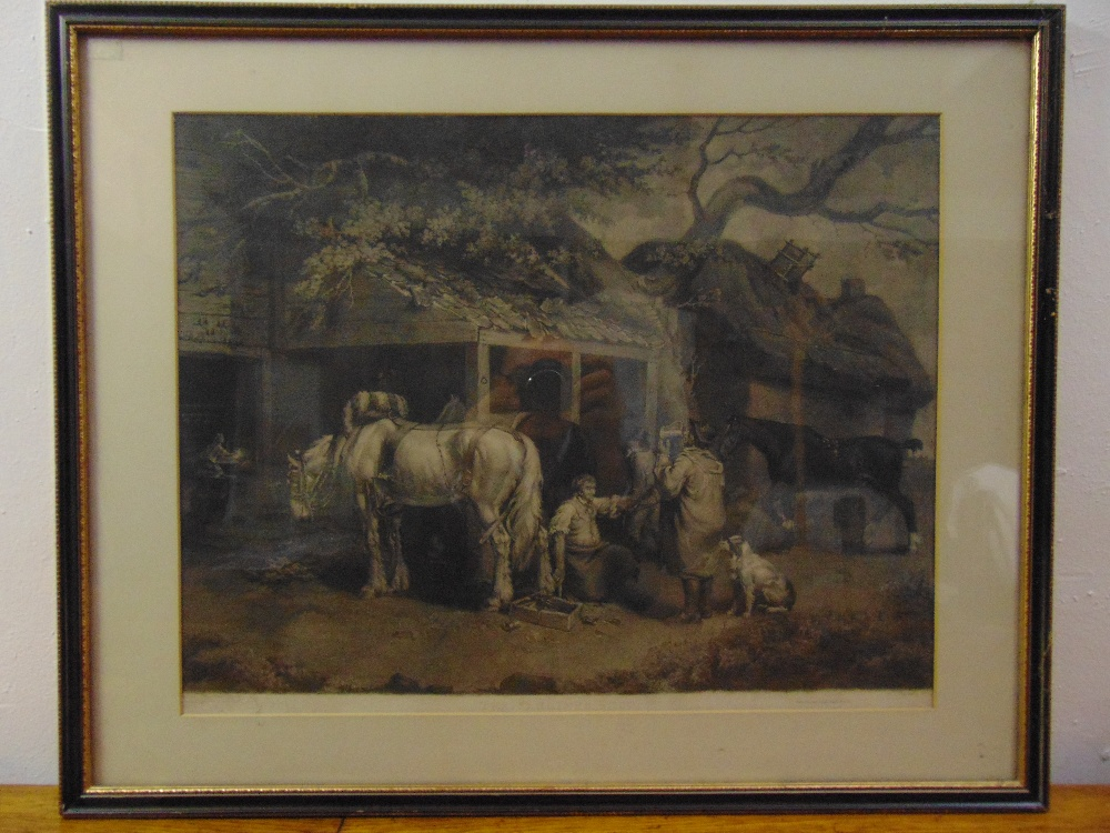Lot 63 - A framed and glazed mezzotint engraving titled The Farriers Shop, after James Ward RA, 47 x 60cm