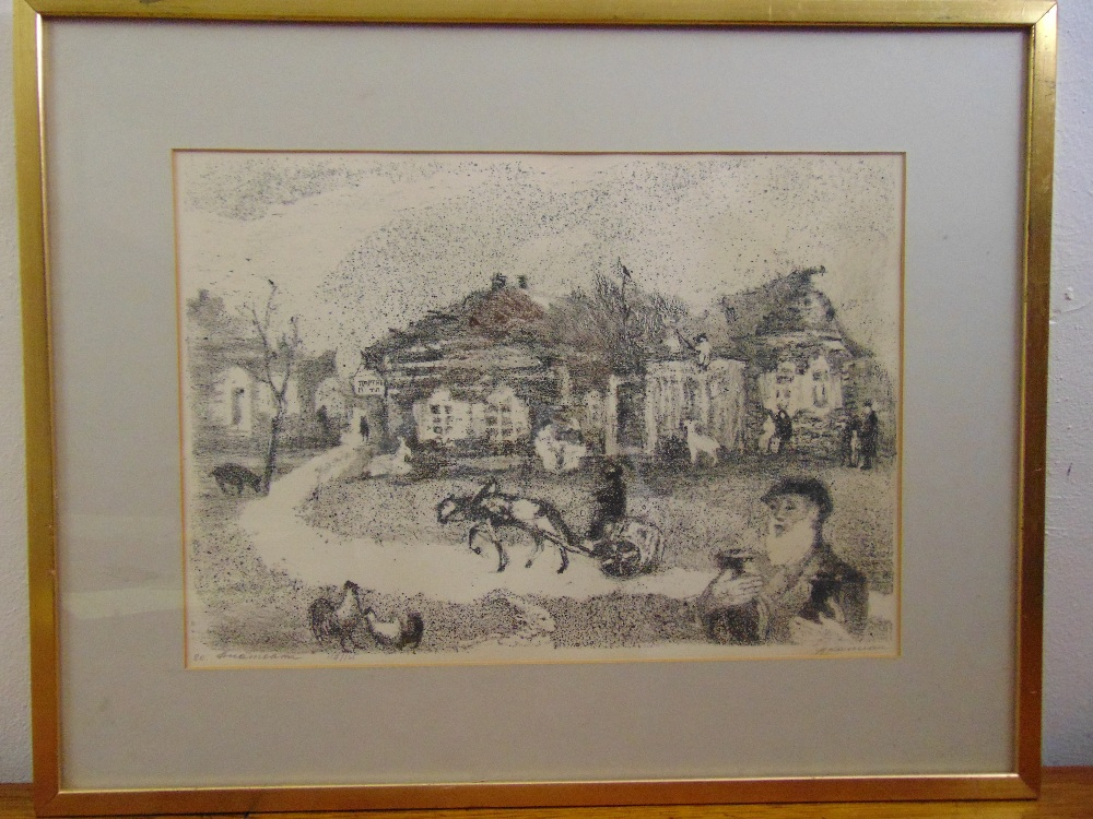 Lot 55 - Anatolij Lvovic Kaplan 1902-1980 three framed and glazed monochromatic limited edition lithographs