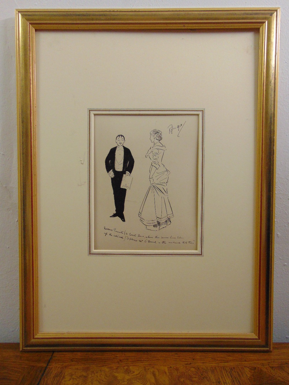 Lot 67 - Philip William May framed pen and ink drawing titled The Nervous Pianist, signed top right,