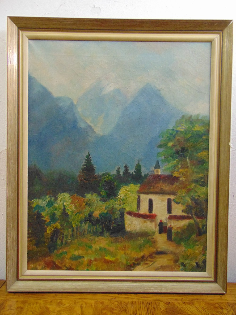 Lot 89 - A framed oil on canvas of a Swiss mountain scene, 50.5 x 40.5cm