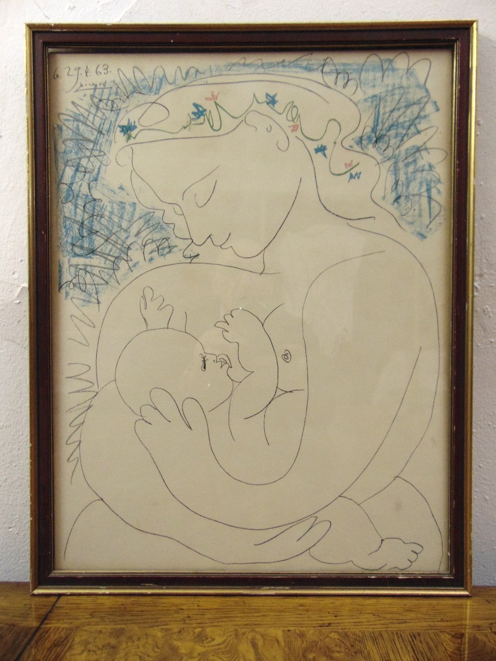 Lot 61 - Pablo Picasso framed and glazed polychromatic print titled Mother and Child, 49 x 39cm