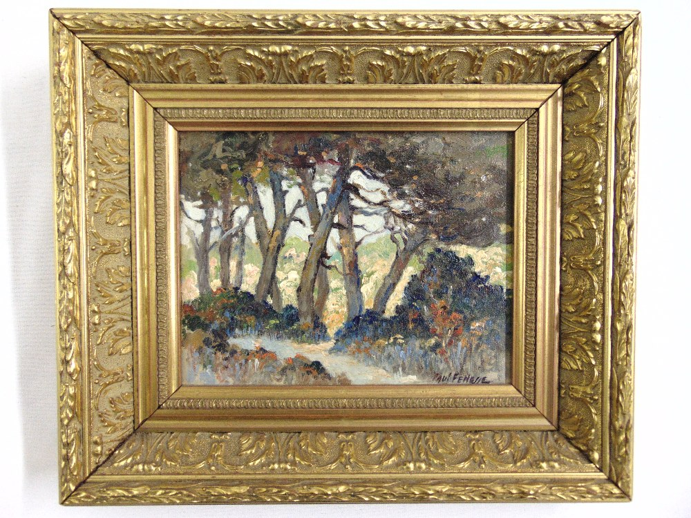 Lot 92 - Paul Fenasse framed oil on board of a wooded scene signed bottom right, 13.5 x 17.5cm