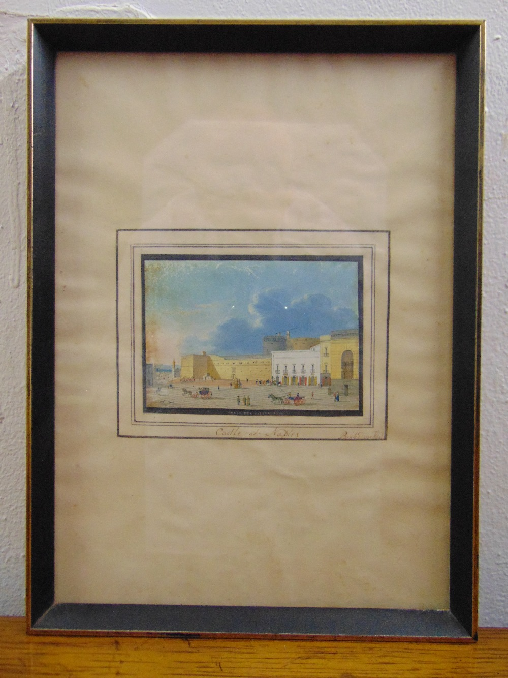 Lot 77 - A framed and glazed 19th century miniature watercolour of The Castle at Naples, 7 x 10cm