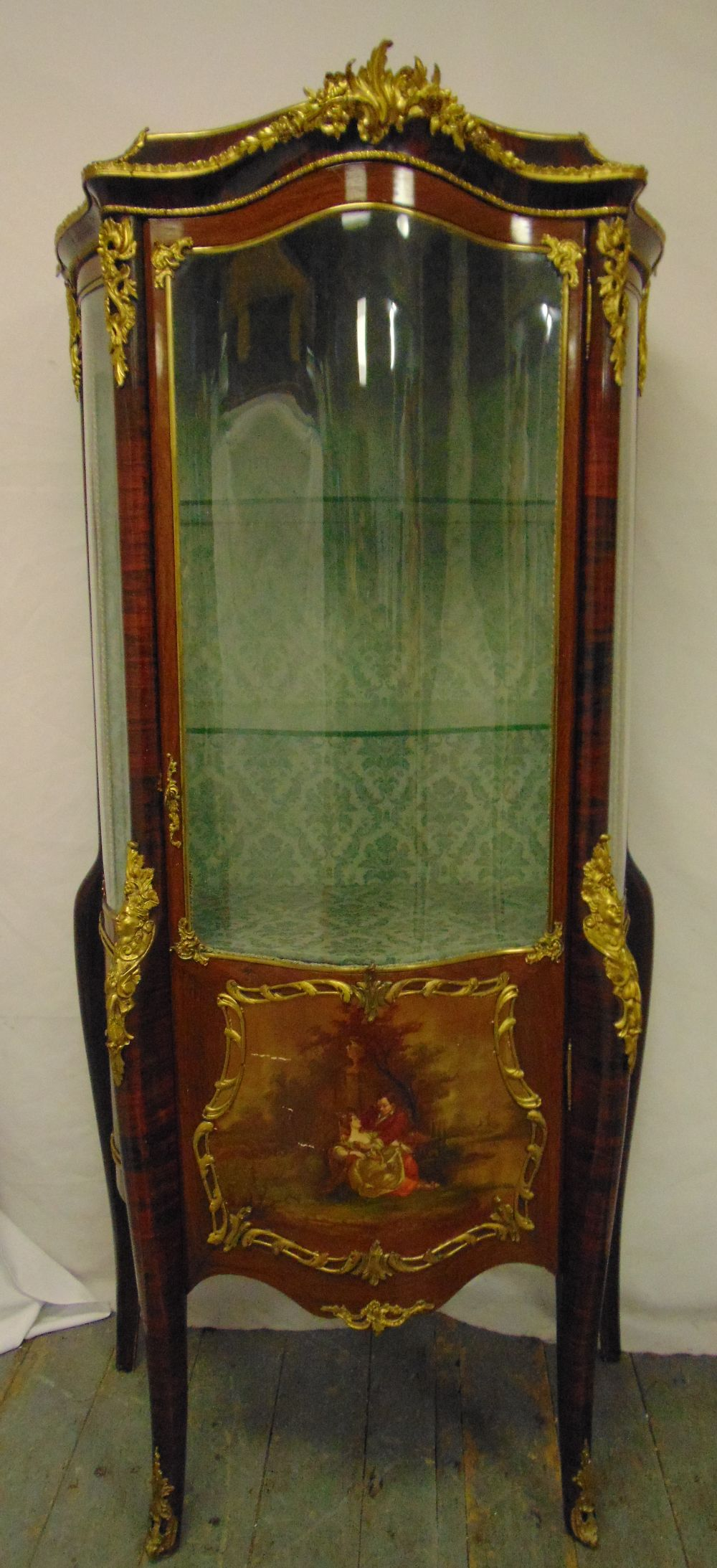 Lot 5 - A Vernis Martin shaped rectangular glazed display cabinet with bow glass sides and hinged fronts,