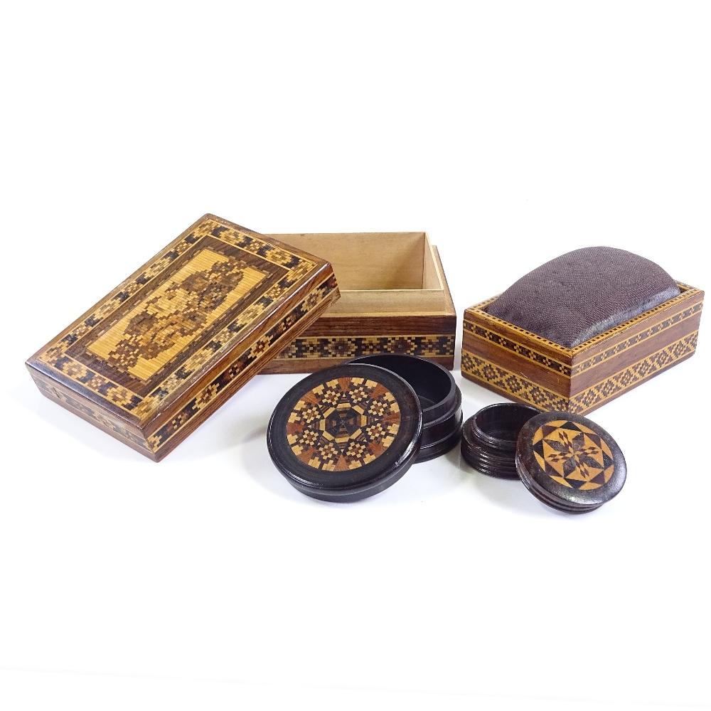 Lot 54 - 4 small Victorian Tunbridge Ware boxes, largest length 8cm