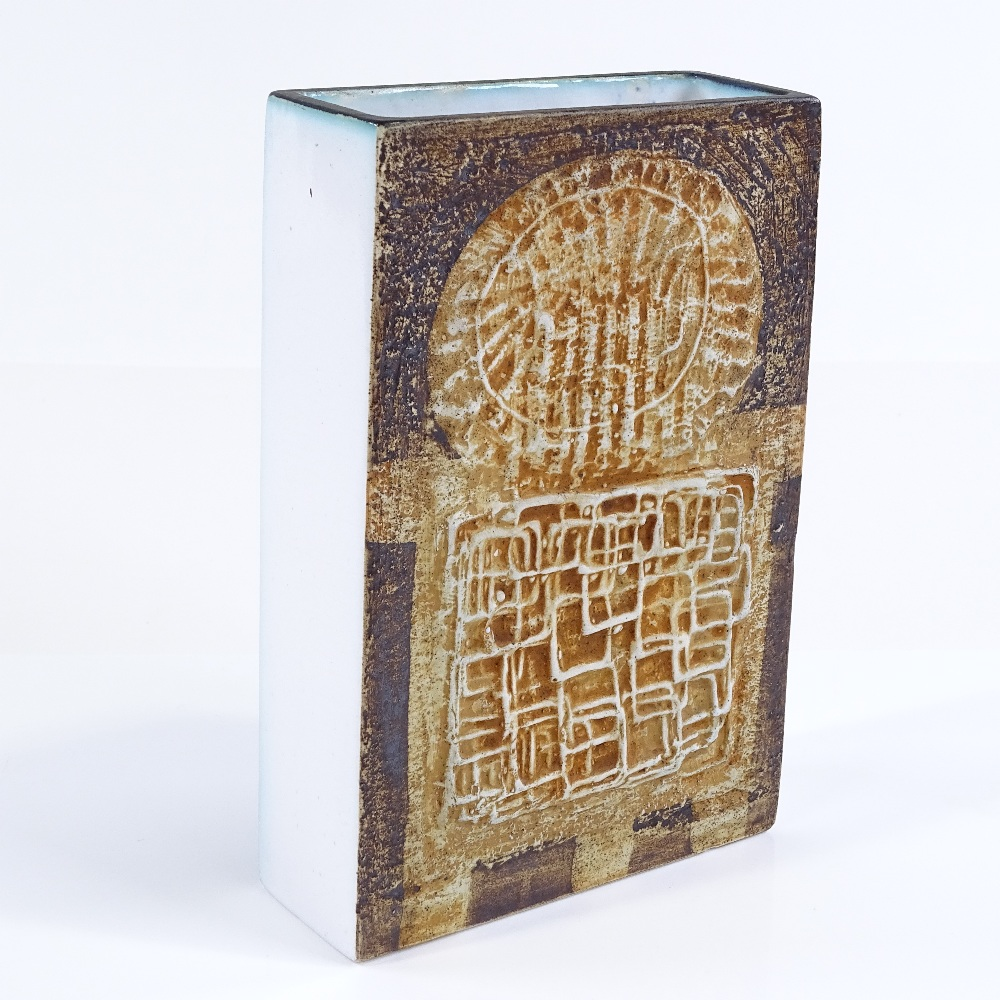 Lot 16 - Troika St Ives Pottery Slab vase, relief-moulded abstract decoration with white glaze sides,