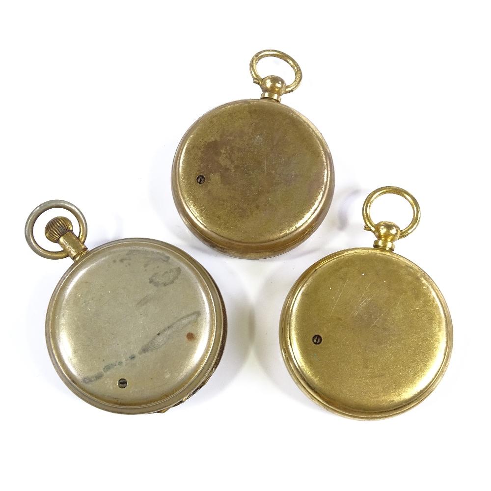 Lot 41 - 3 Victorian pocket barometers, gilt-metal cases (3)