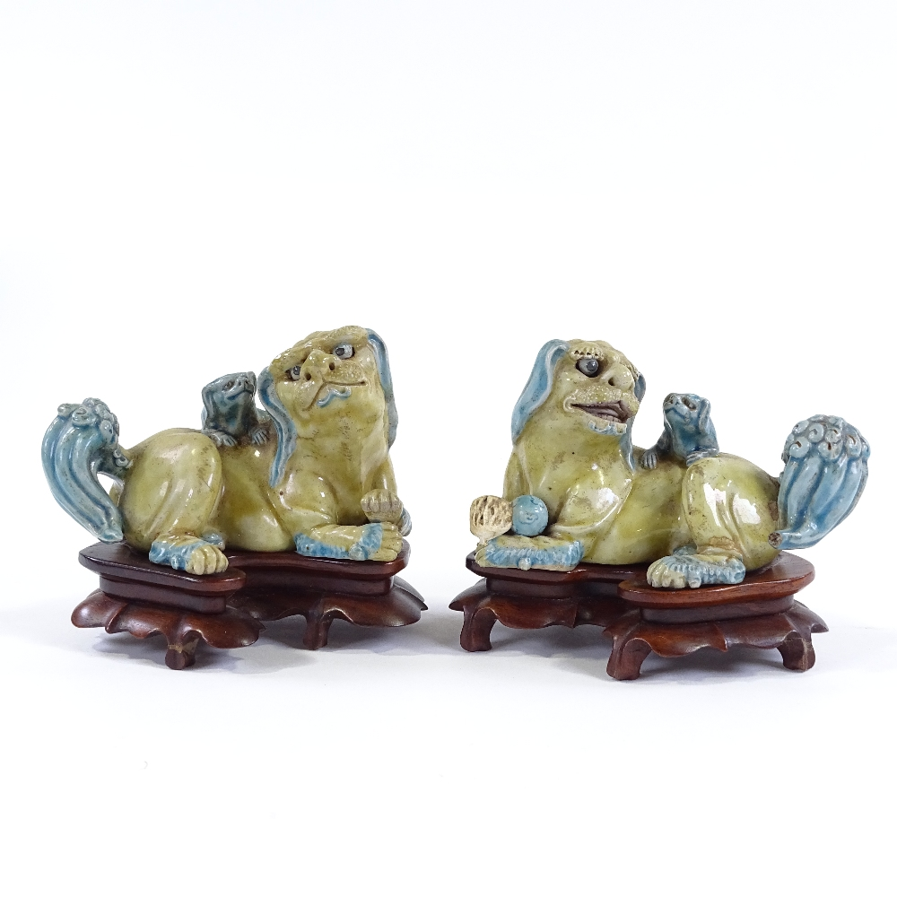 Lot 11 - A pair of Chinese glazed porcelain Dogs of Fo, on original carved rosewood stands, length 14cm