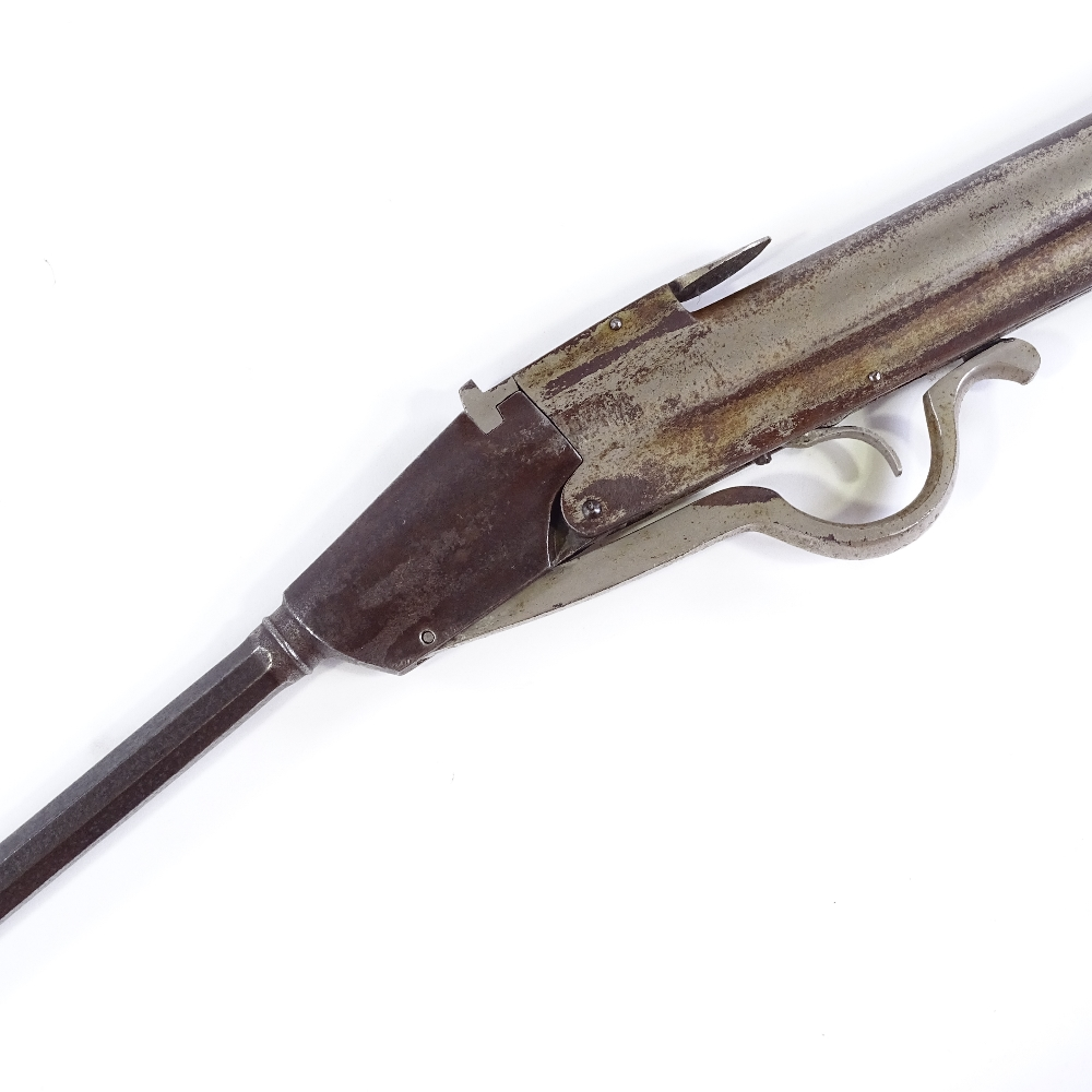 Lot 32 - A Gem style air rifle, non standard calibre (circa 0.21), with break barrel and unusual long lever