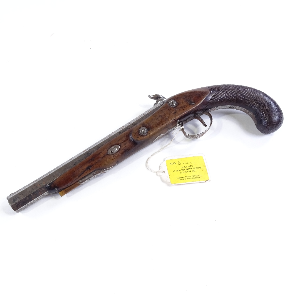 Lot 27 - An early 19th century percussion pistol, lock marked Clarke & Son, carved walnut stock, length 35cm
