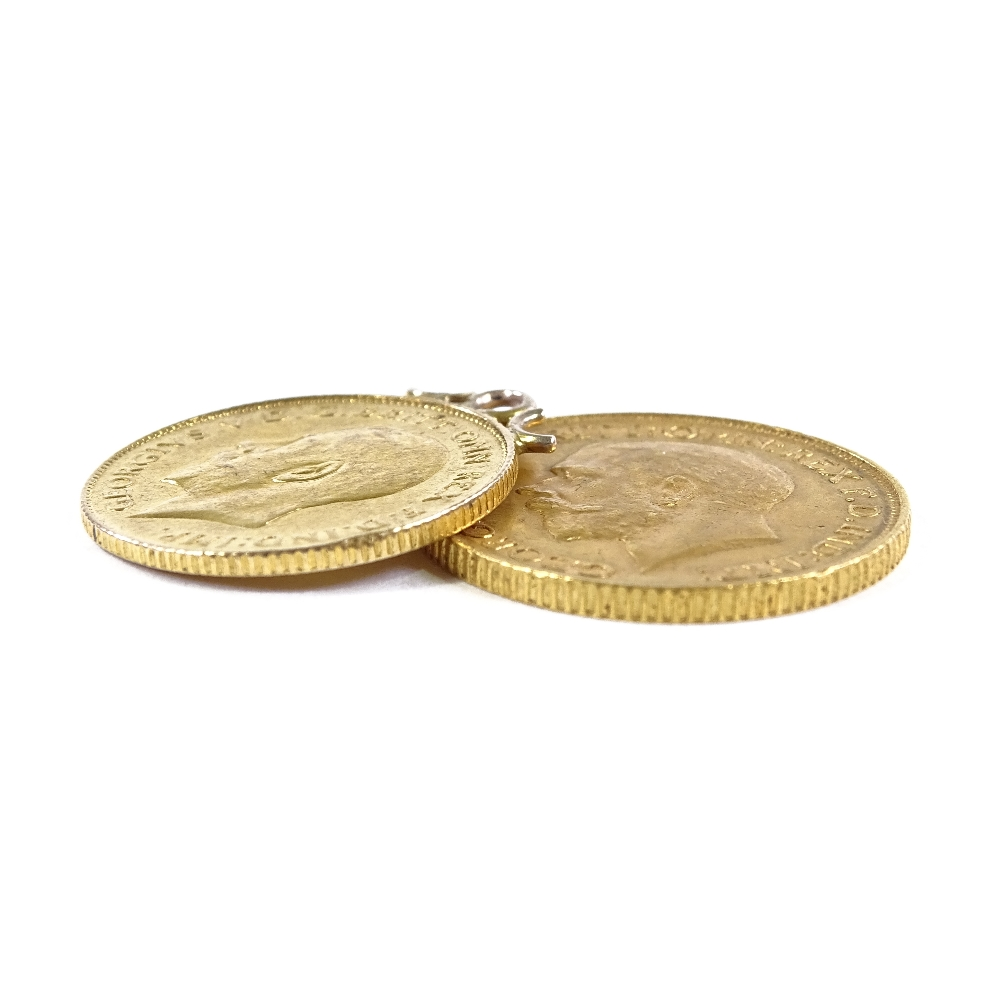 Lot 49 - A 1912 gold sovereign, and a 1911 gold half sovereign with pendant mount