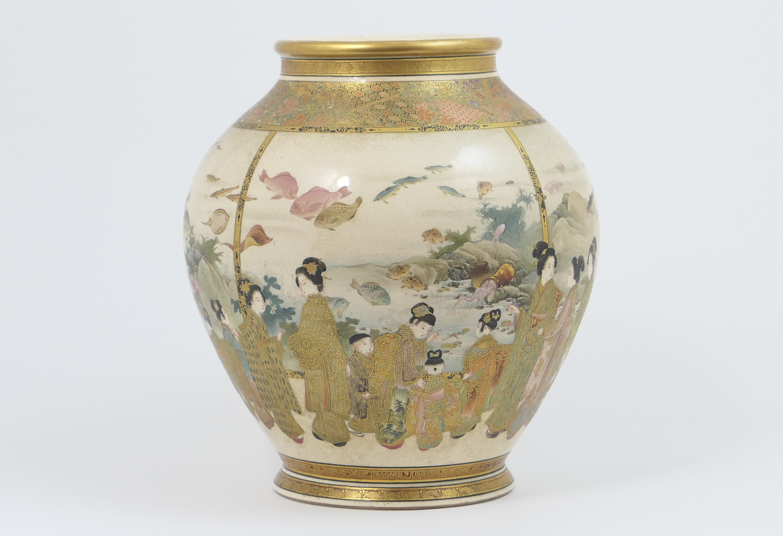 Lot 49 - Fine Japanese Satsuma earthenware vase, Meiji (1868-1912), baluster form with wide, finely gilded