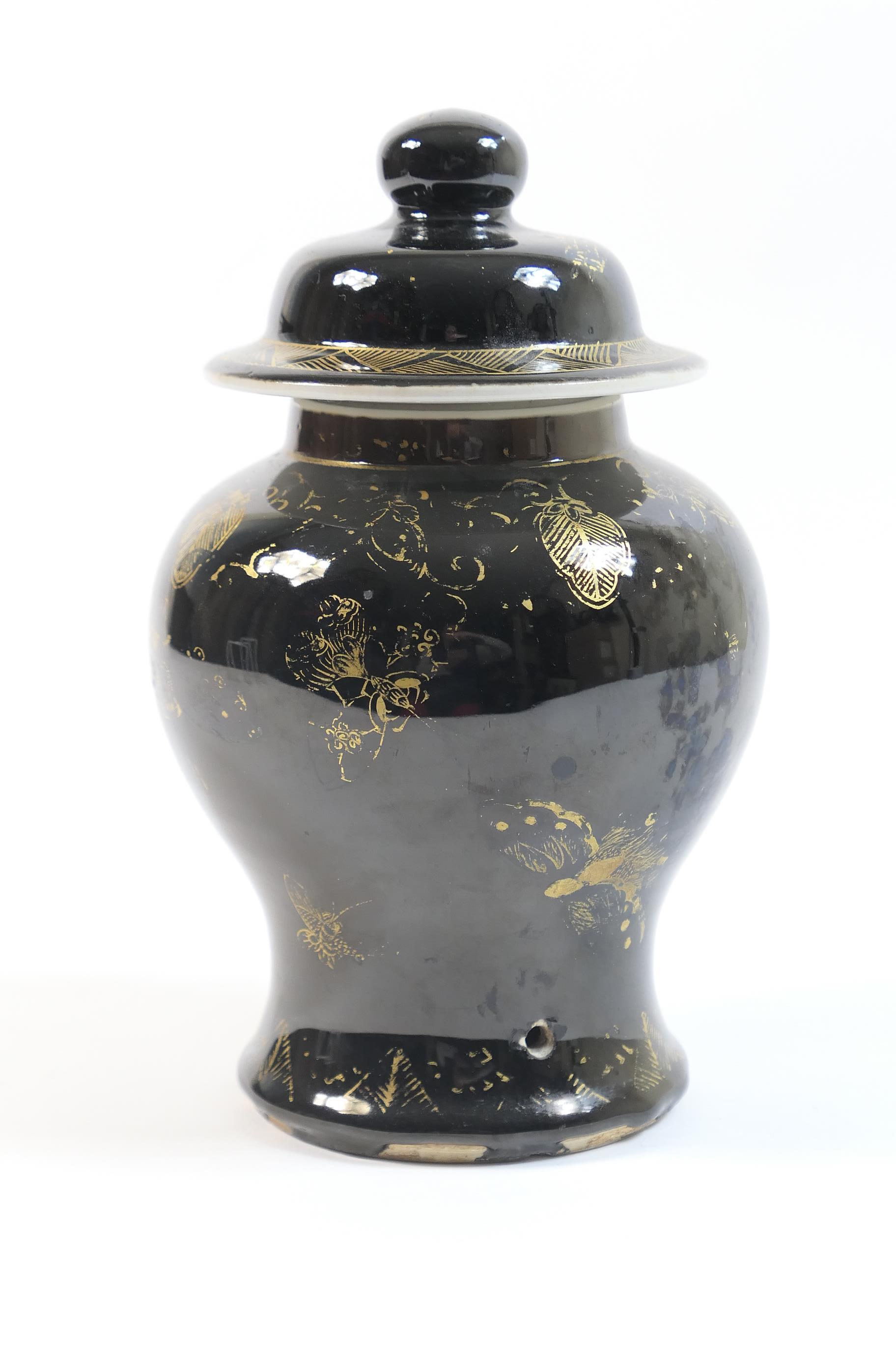 Lot 45 - Chinese mirror black lidded jar, 19th Century, of inverted baluster form with a domed cover, with