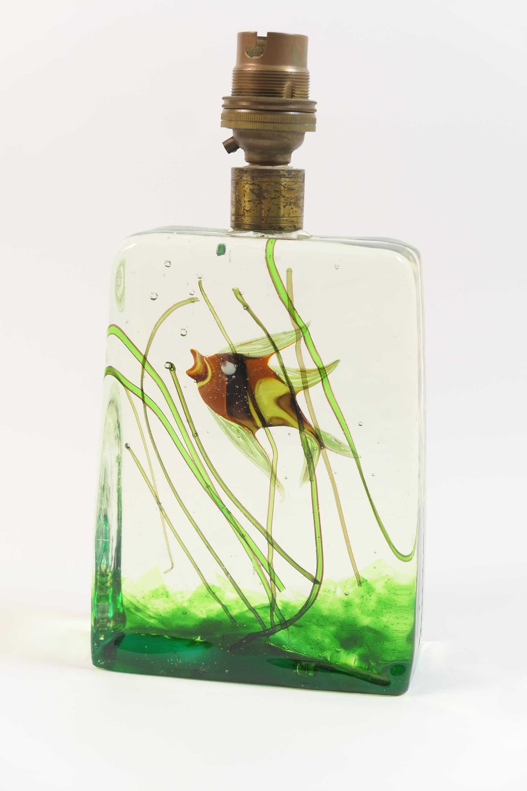 Lot 21 - Murano glass aquarium table lamp base, slab form encasing an angel fish in colours swimming amidst