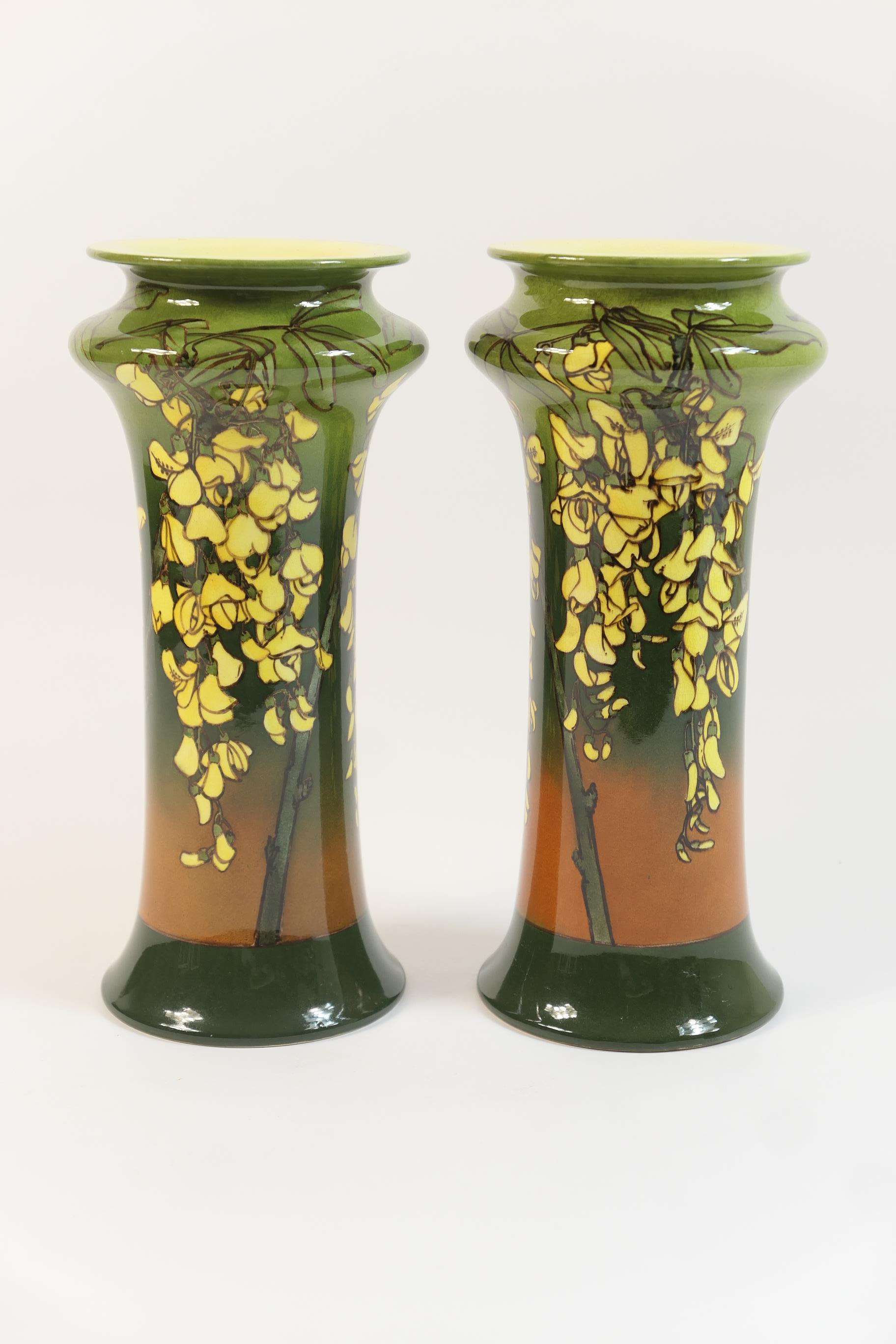 Lot 53 - Pair of Doulton Lambeth faience vases, probably by Harriette Knight and Minnie Webb, circa 1893,