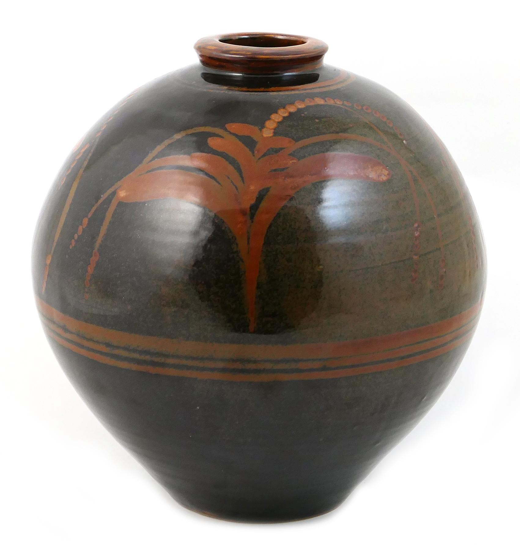 Lot 44 - David Leach (1911-2005), large stoneware globular jar, decorated throughout in a tamaku glaze