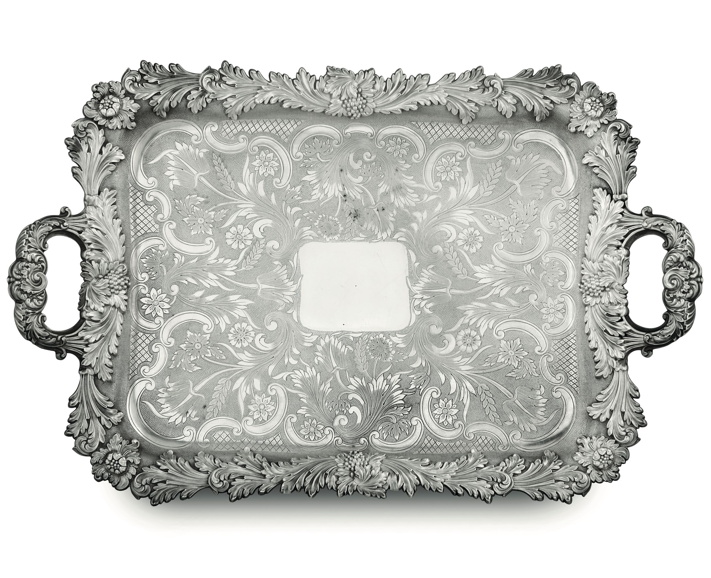 Lot 44 - A silver tray, Maison Odiot, Paris, late 1800s - Molten and chiselled silver. 3390gr, [...]