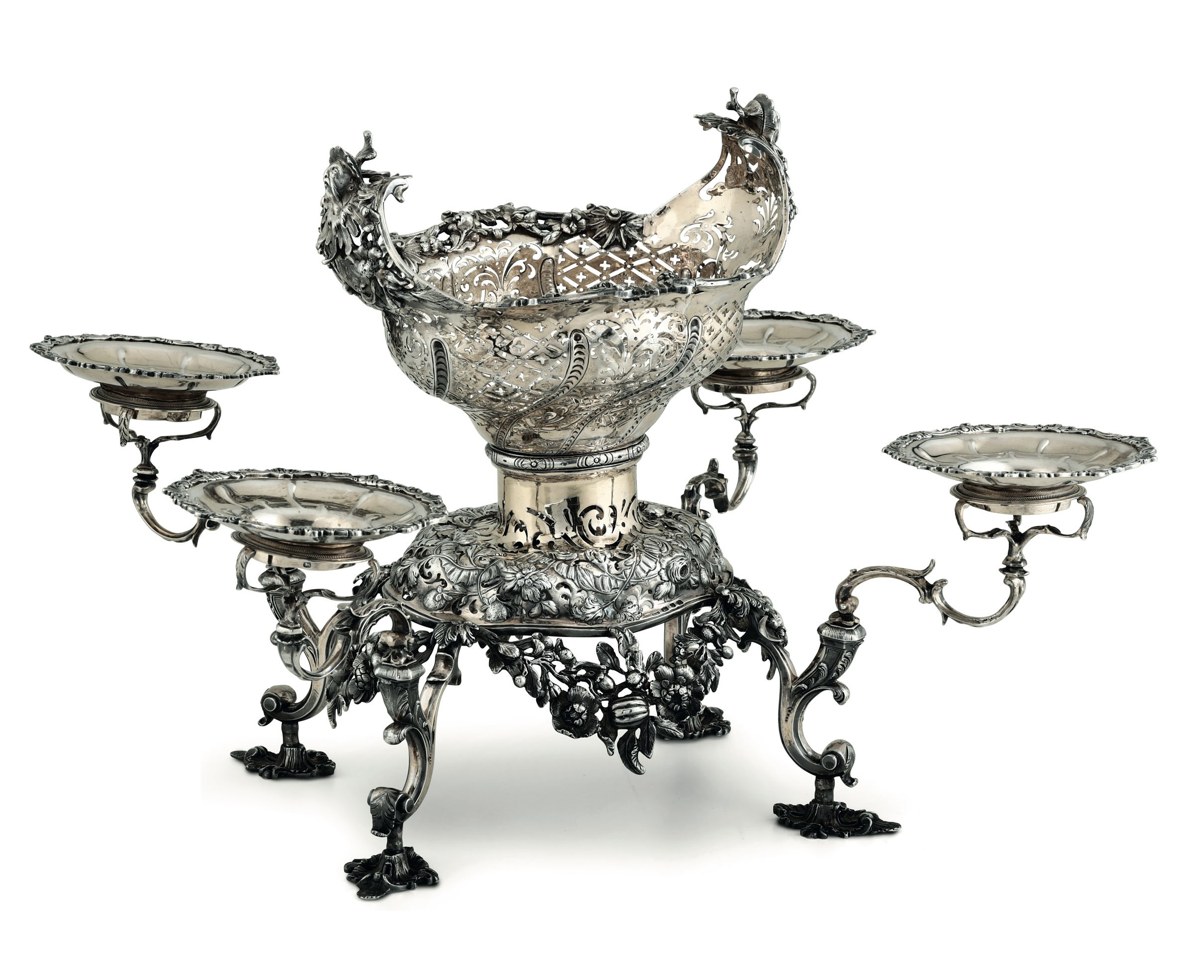 Lot 32 - A silver épergne, London, 1758 - Molten, embossed and partially gilt silver. [...]