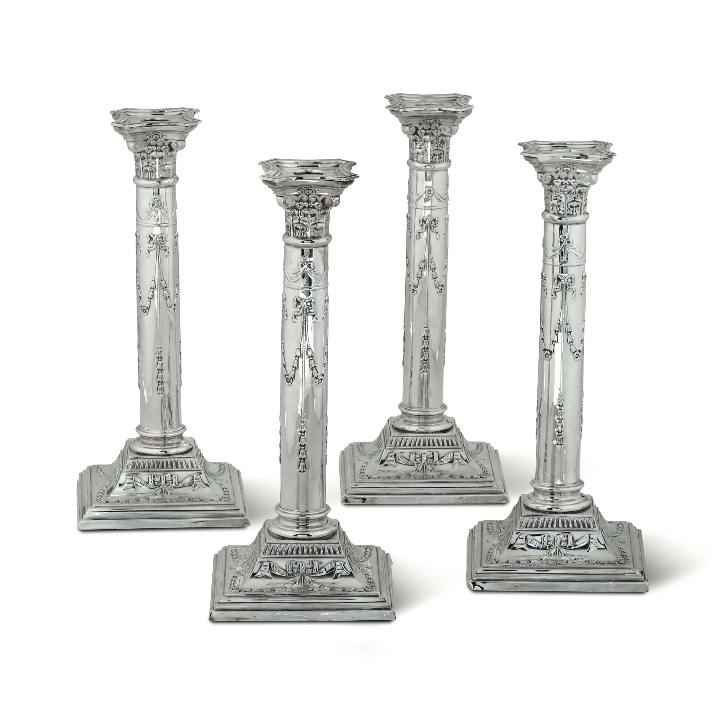 Lot 40 - Four sterling silver candlesticks, London, 1795 - Hallmarked with the London date [...]