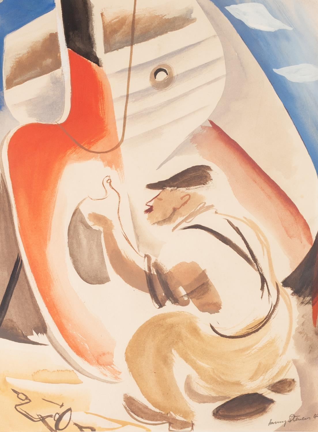 Lot 177 - HARRY STEVENS (1919-2008) WATERCOLOUR DRAWING 'The Broken Rudder' Signed and dated (19)49, titled to