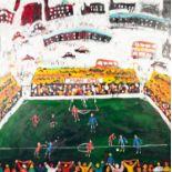 Lot 176 - •SIMEON STAFFORD OIL PAINTING ON CANVAS Panoramic representation of 'Man Utd' football stadium and
