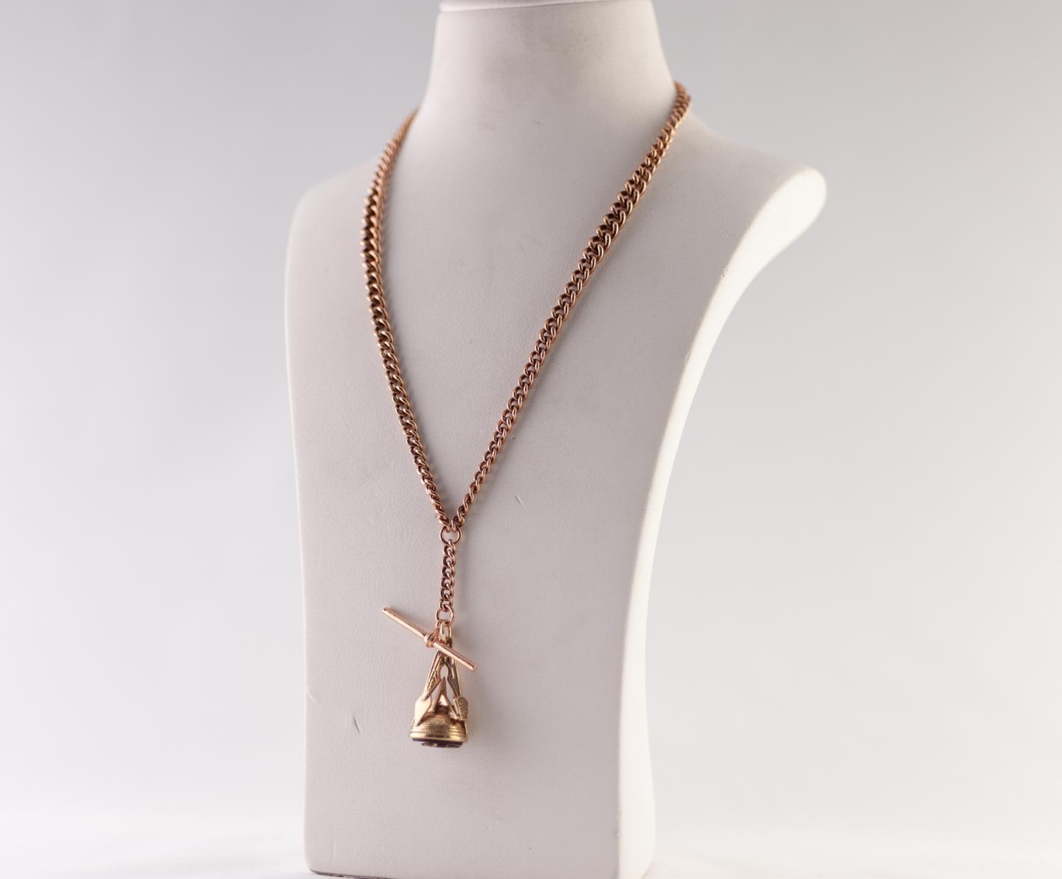 Lot 199 - GRADUATED CURB LINK ALBERT CHAIN, with T-BAR and clip, stamped '9CT', length 47cm, WITH A