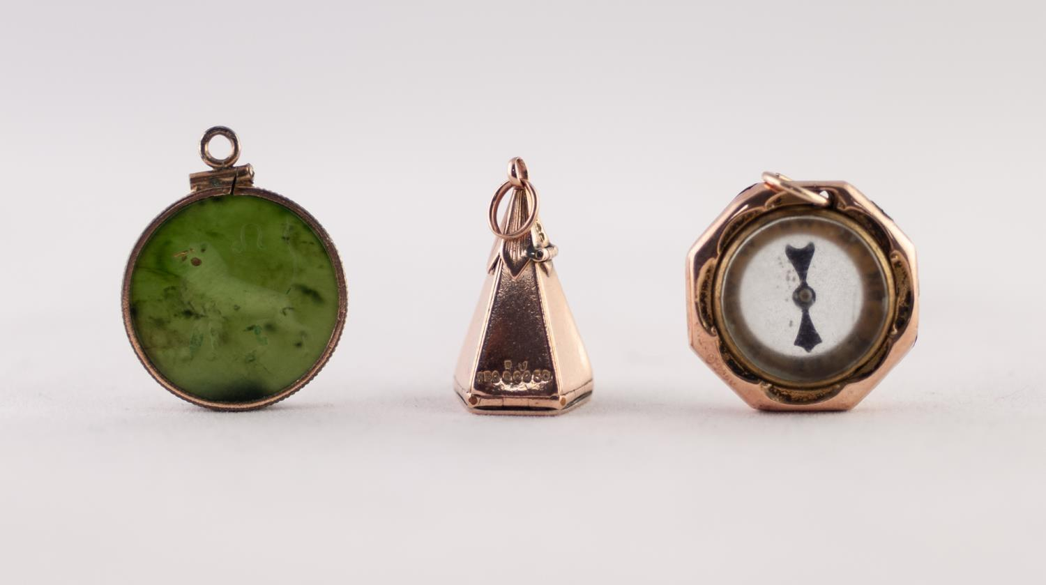 Lot 228 - MASONIC STAR CHARM, A NEPHRITE INTAGLIO AND A COMPASS FOB, 13.39g gross (3)