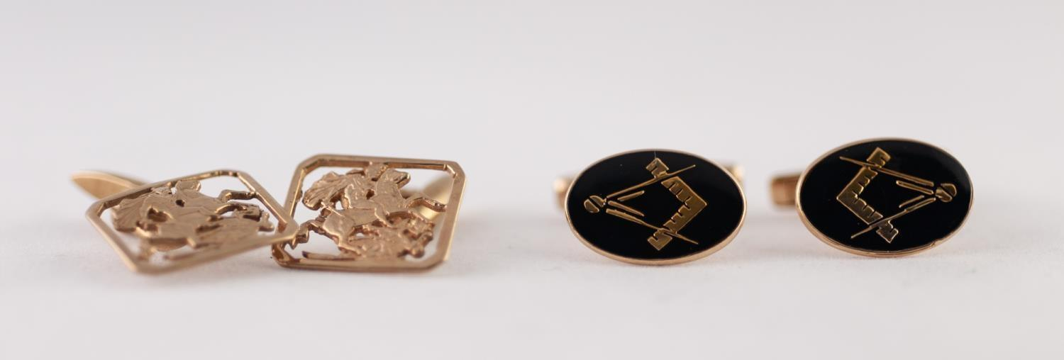 Lot 226 - PAIR OF 9ct GOLD AND BLUE ENAMEL MASONIC CUFFLINKS, with swivel backs and a PAIR OF 9ct GOLD