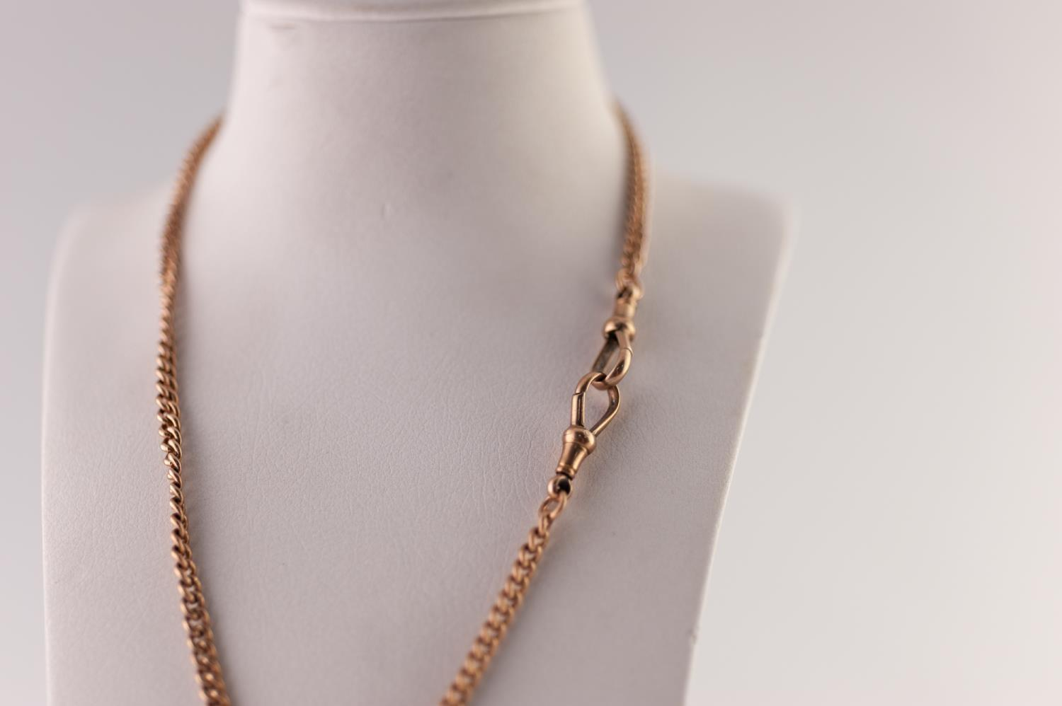 Lot 218 - 9ct GOLD CURB LINK ALBERT CHAIN, with T-bar and clips, length 38cm, 16.7g