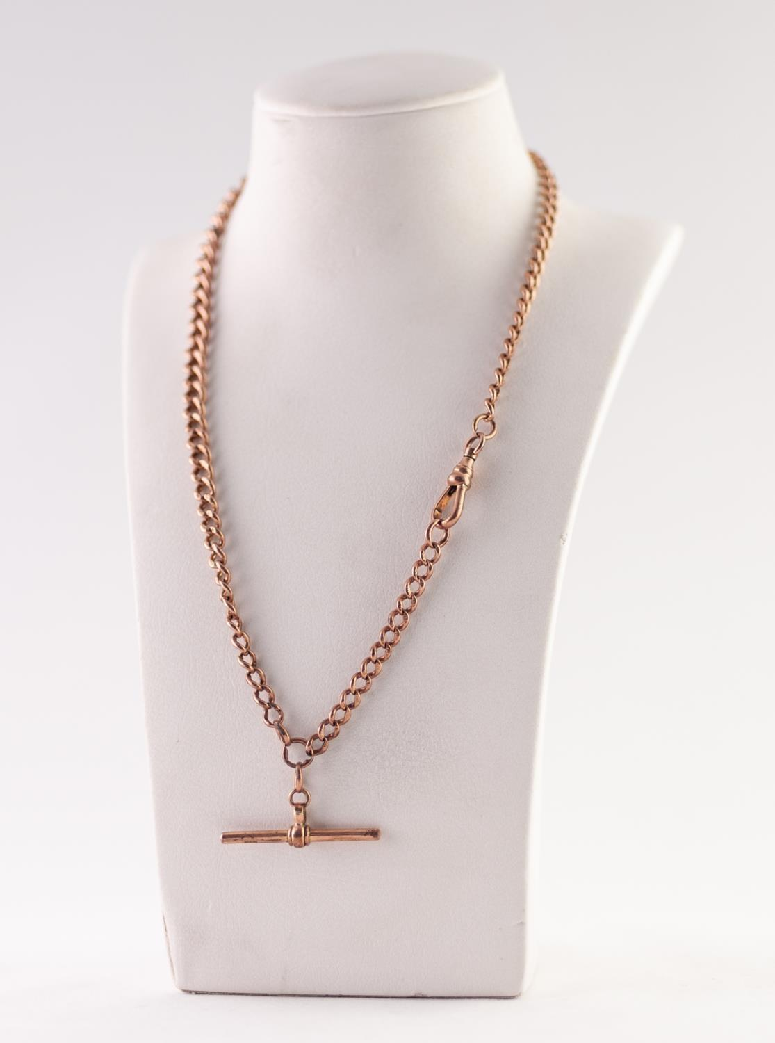 Lot 214 - 9ct GOLD GRADUATED CURB LINK ALBERT CHAIN, with T-bar and clip, length 40cm, 25.5g