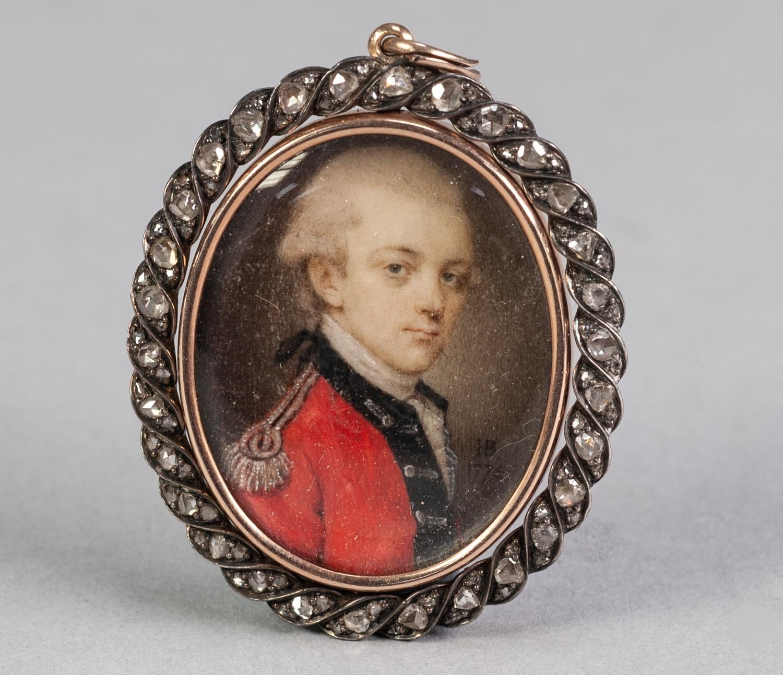Lot 6 - JOHN BOGLE (1746-1803), A GOOD OVAL PORTRAIT MINIATURE ON IVORY OF A YOUNG UNIFORMED OFFICER, signed
