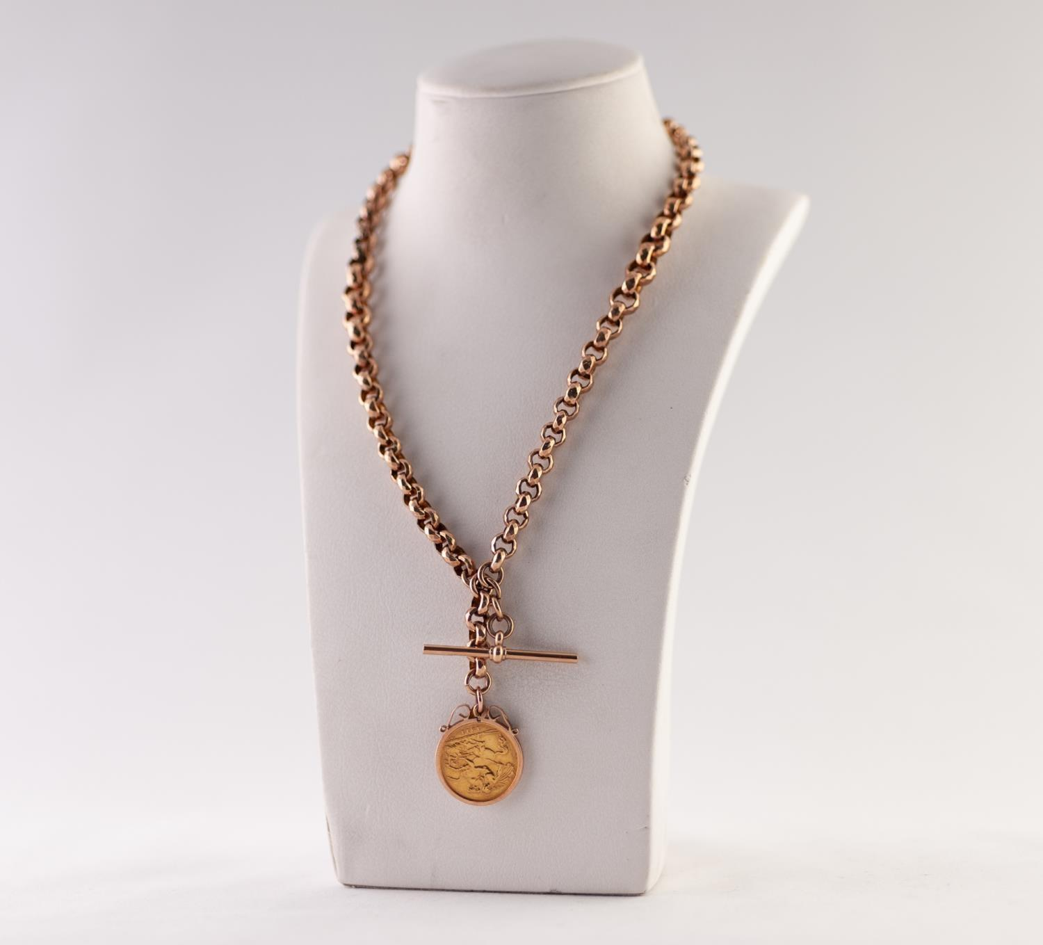 Lot 198 - FACETED BELCHER CHAIN ALBERT CHAIN, with T-bar and clip, stamped '9CT', SUPENDING A LOOSE MOUNT