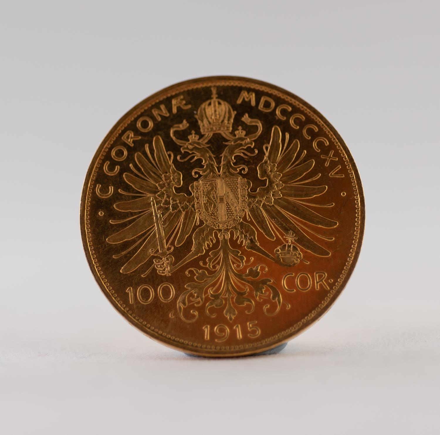 Lot 58 - AUSTRIAN 100 CORONA GOLD COIN, dated 1915, 34gms (re-strike)
