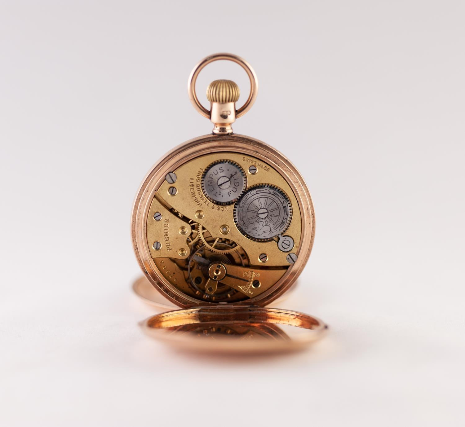 Lot 231 - THOMAS RUSSELL AND SON, LIVERPOOL 'PREMIER' 9ct GOLD FULL HUNTER POCKET WATCH, with Swiss keyless