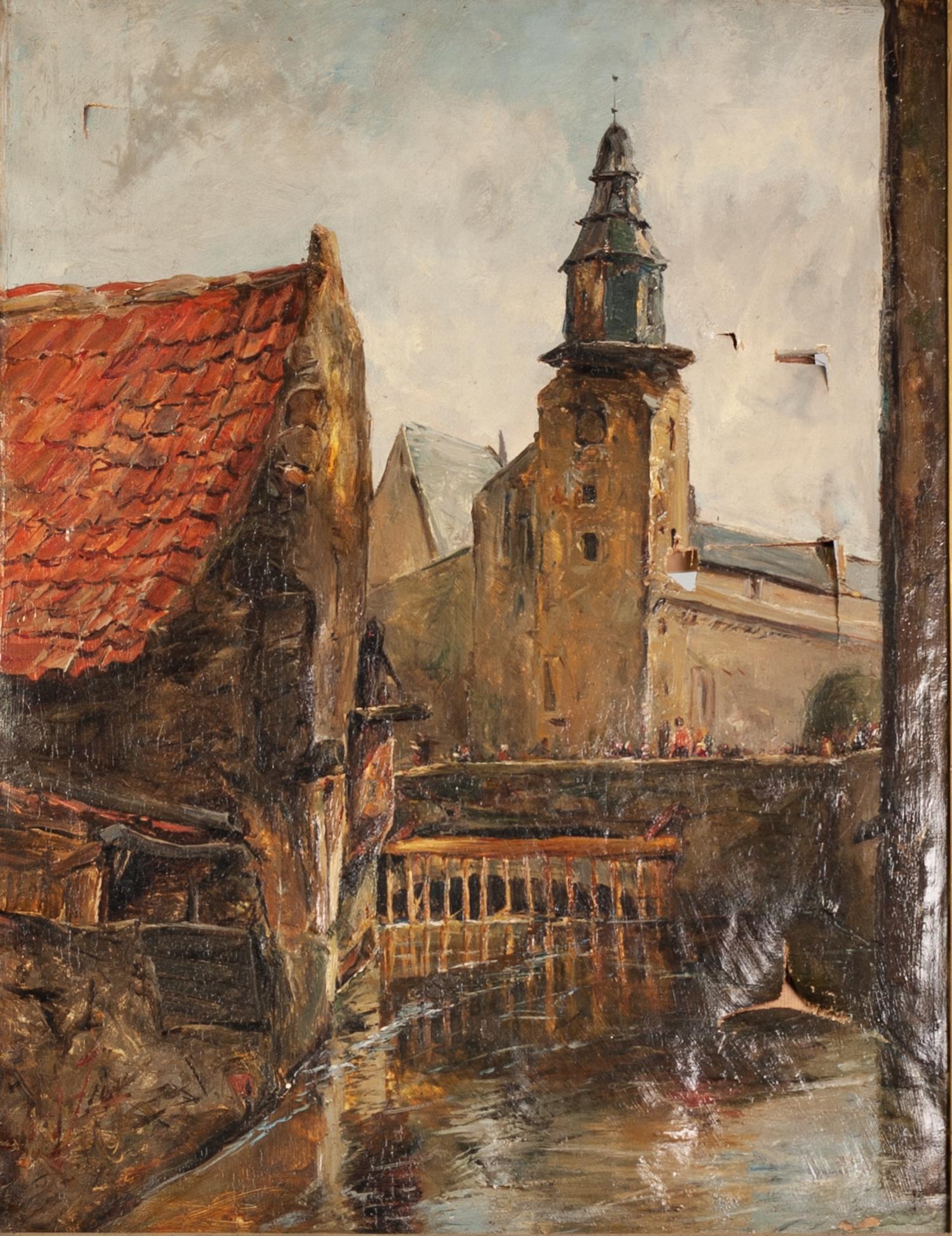 Lot 228 - ?A. FRASER (EARLY TWENTIETH CENTURY) OIL PAINTING ON CANVAS Continental town scene with river and