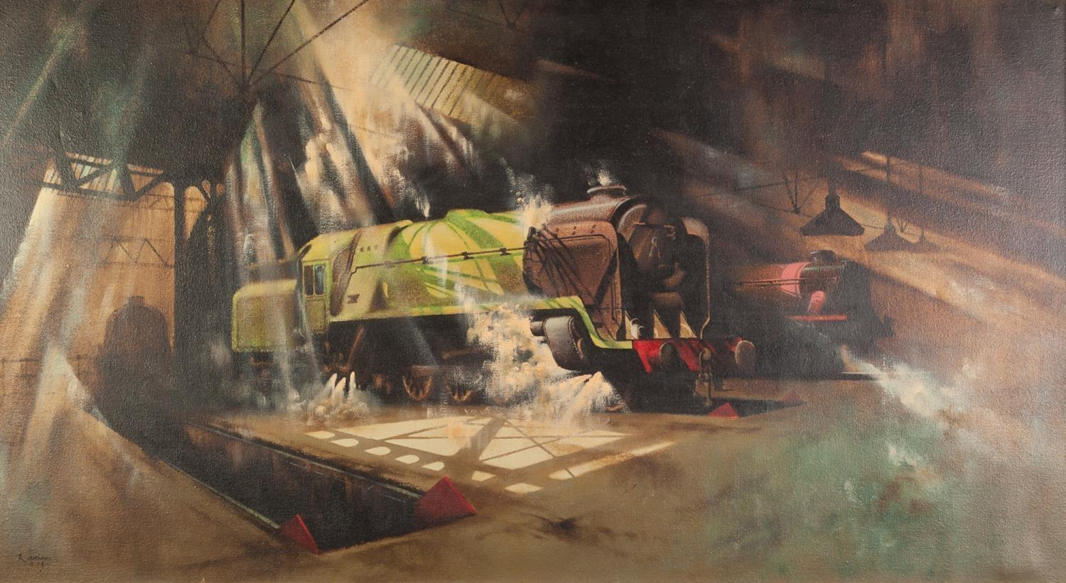 Lot 284 - R. ALTHAM (TWENTIETH CENTURY) OIL PAINTING ON CANVAS Steam locomotives in a shed Signed and dated