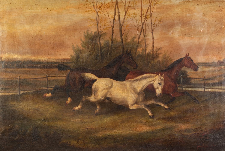 "Lot 285 - JAMES CLARK (1812 - 1884) SAMUEL JAMES CLARK (1841 - 1928) OIL PAINTING ON CANVAS ""Startled"" three"