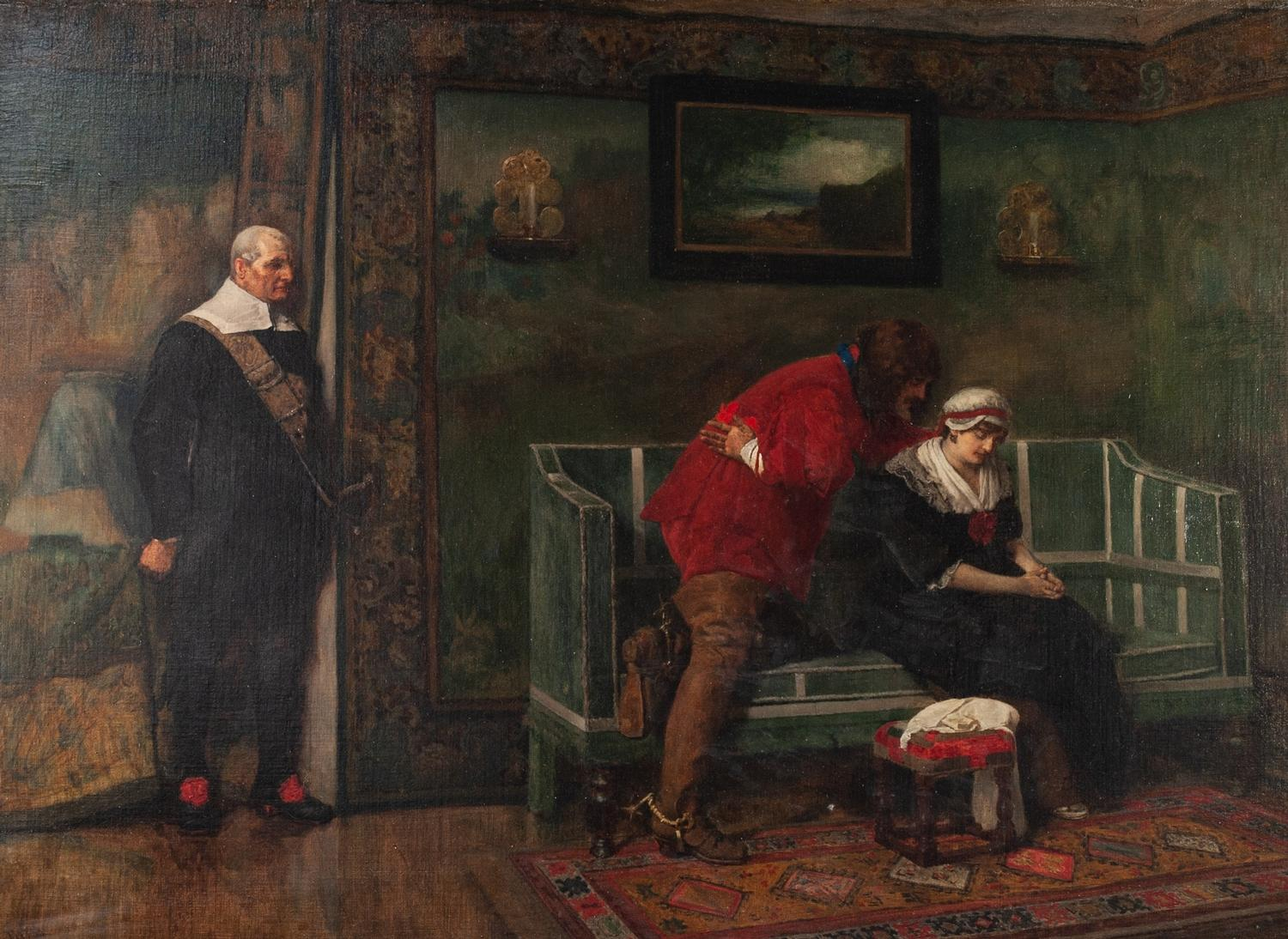 Lot 245 - JAMES DRUMGOLE LINTON P.R.I., A.R.W.S (1840-1916) OIL PAINTING ON LINED CANVAS 'Major Ralph