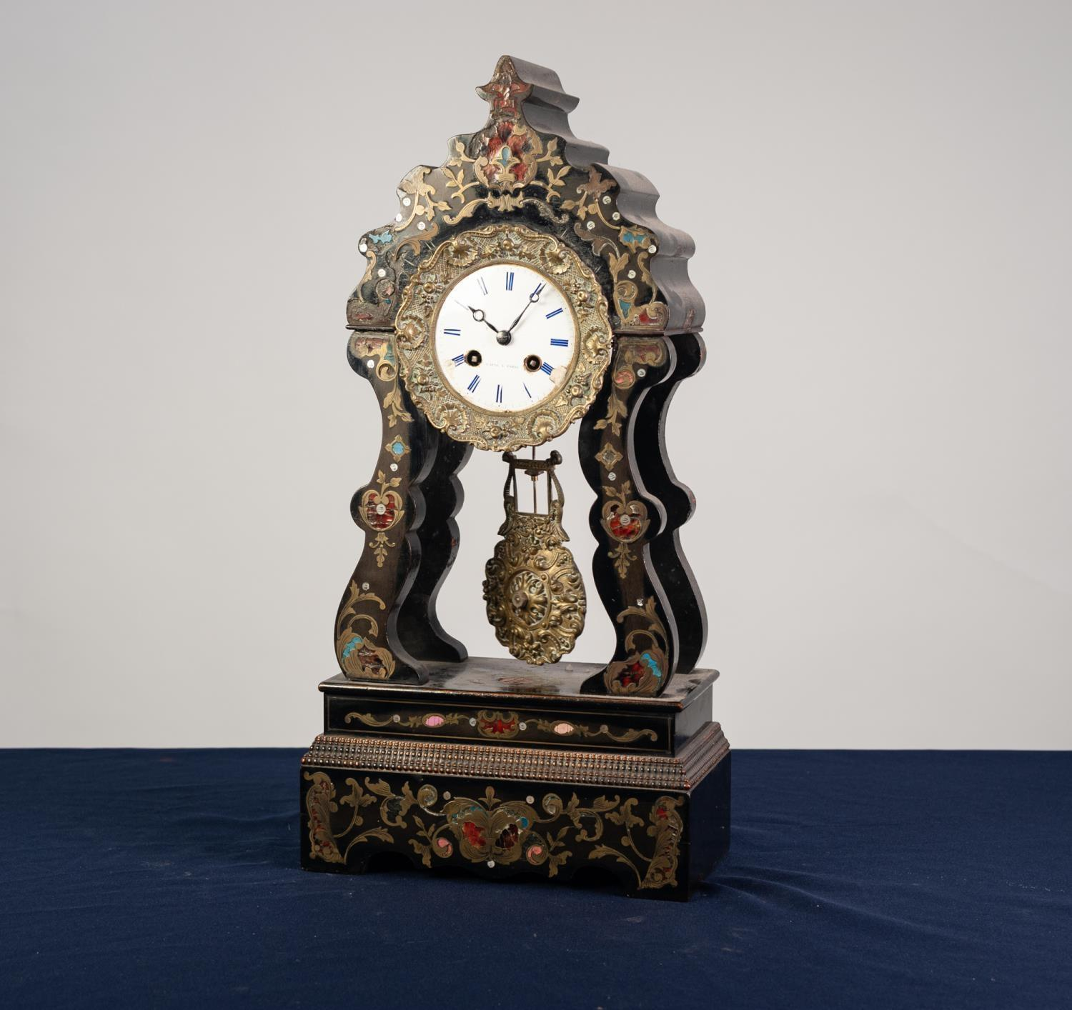 Lot 59 - 19th CENTURY FRENCH PORTICO MANTEL CLOCK, the movement and white enamel dial signed Laine a Paris,