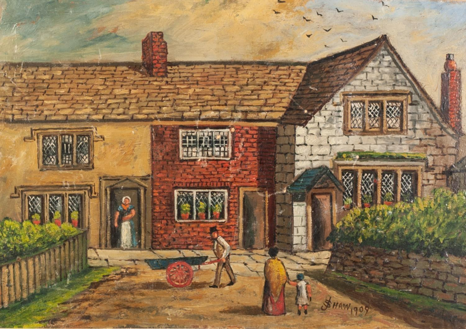 Lot 251 - J SHAW 20th CENTURY OIL PAINTING Bygone street scene, figures by shops and public house top of