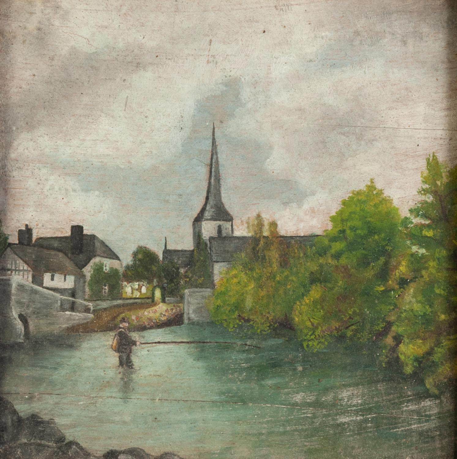 Lot 274 - UNATTRIBUTED (NINETEENTH CENTURY) OIL PAINTING ON PANEL River scene with wading angler, a town in