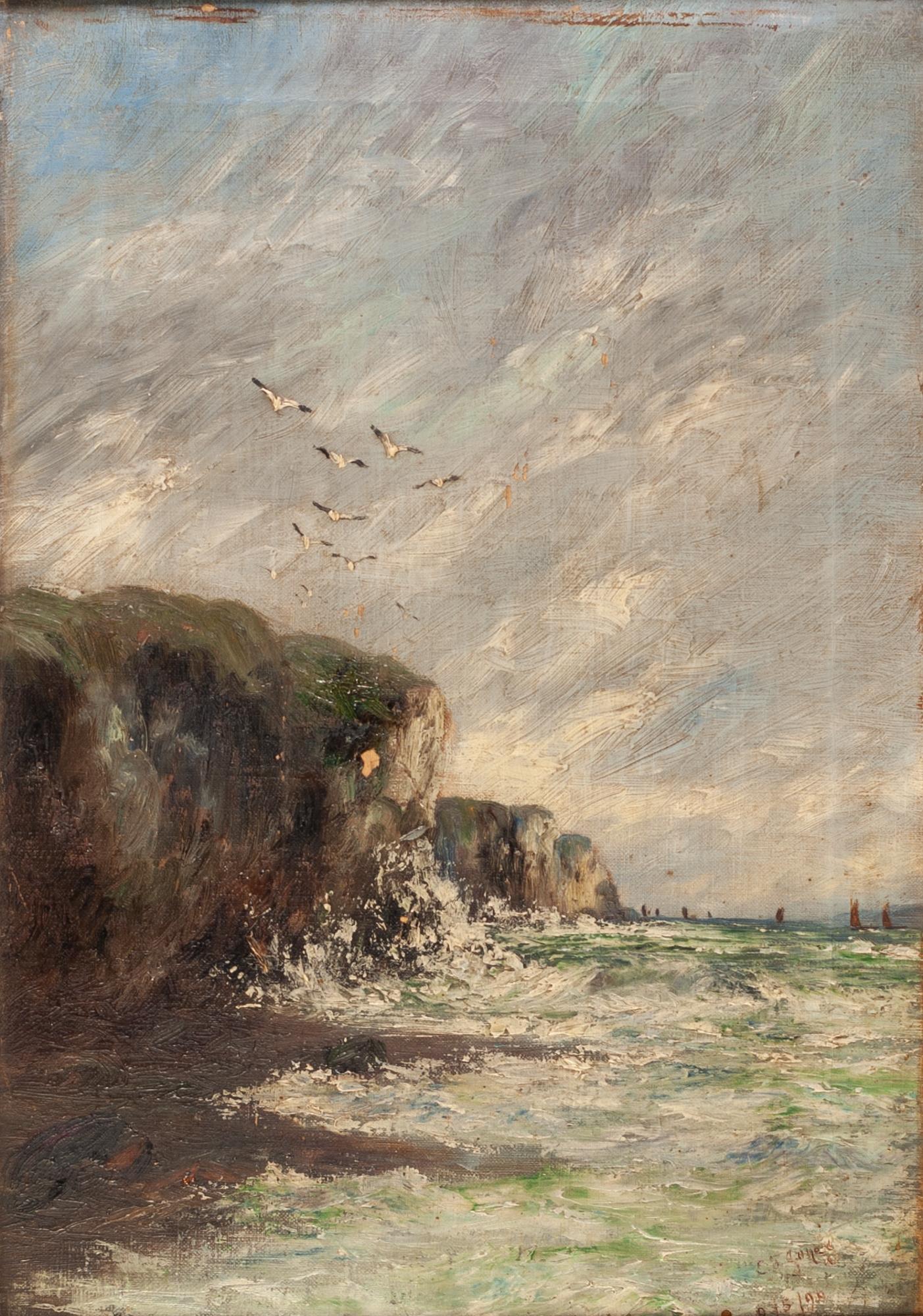 Lot 259 - E.J. JONES (LATE NINETEENTH CENTURY) OIL PAINTING ON CANVAS Coastal scene with birds in flight above