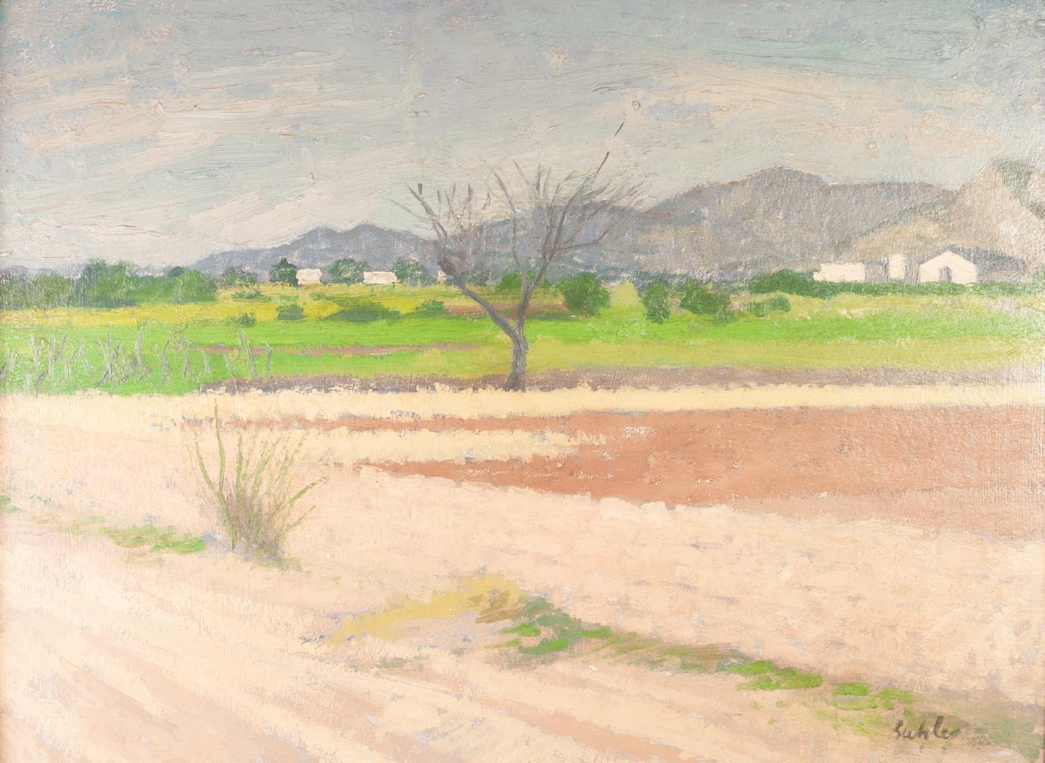 Lot 279 - ROBERT BUHLER (1916-1989) OIL ON BOARD ?Benicassim, nr. Castellone Depa Plana, Spain? Signed, titled