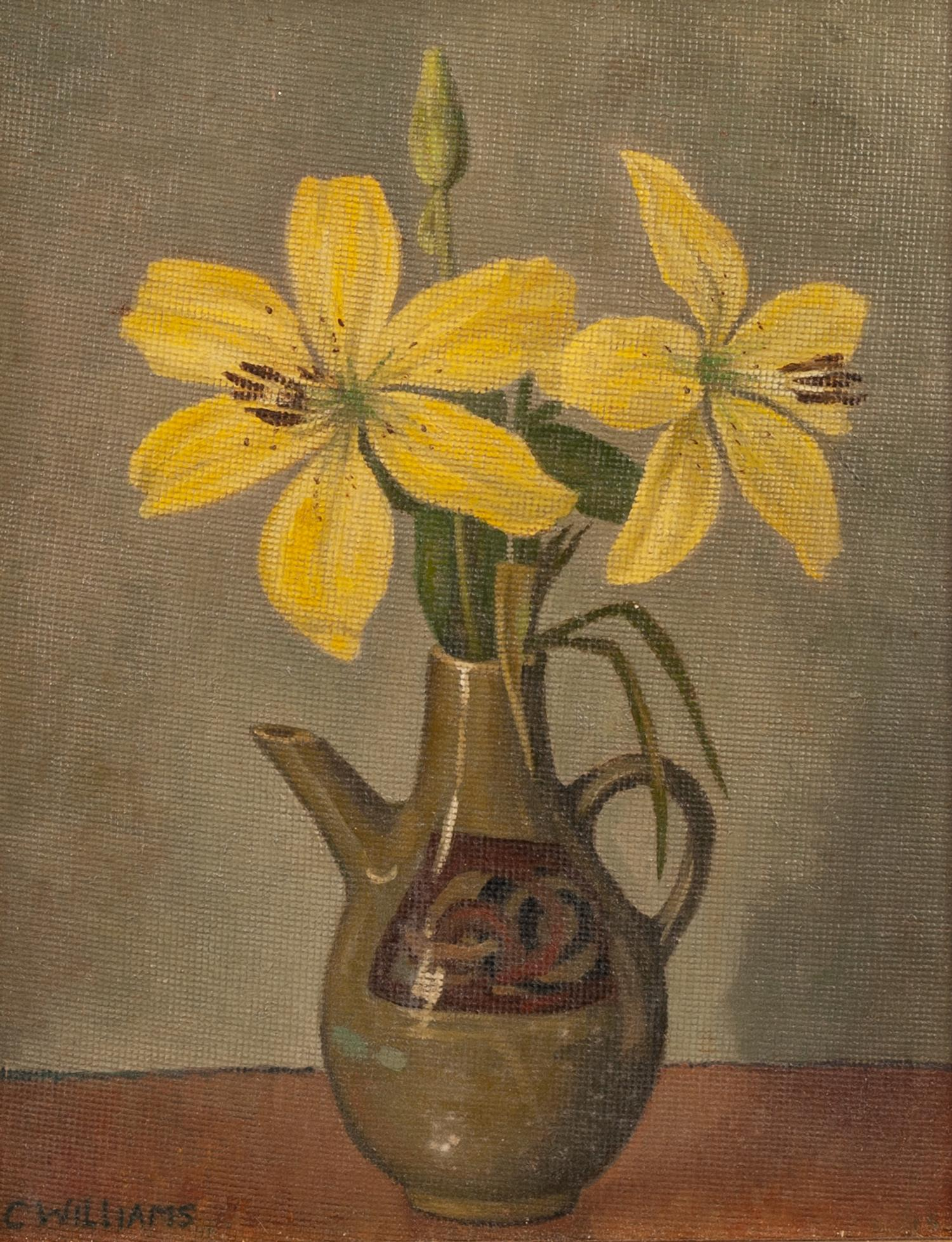 Lot 248 - CHARLIE WILLIAMS (TWENTIETH CENTURY) OIL ON BOARD Still life-jug of flowers Signed 9 ½? x 7 ½? (24.