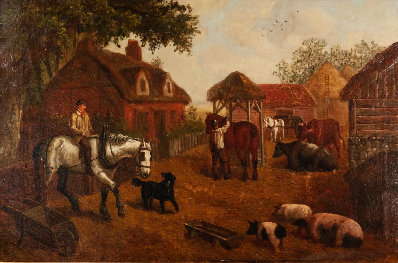 Lot 261 - EDWARD BENJAMIN HERBERTE (Act: 1857-1893) OIL PAINTING ON CANVAS Farmyard scene with figures,