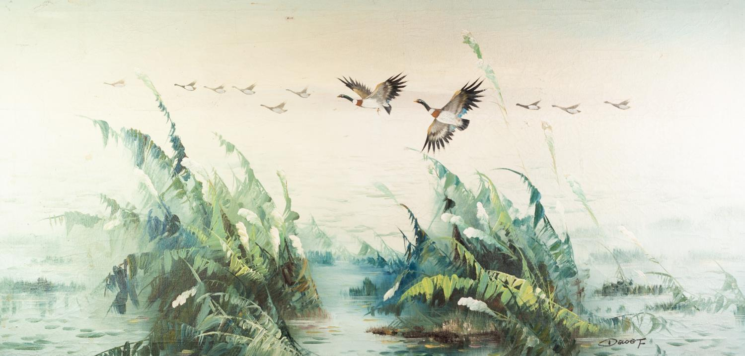Lot 273 - F. DELOE? (MODERN) OIL PAINTING ON CANVAS Ducks in flight over water Signed 23 ½? x 47 ½? (59.7cm
