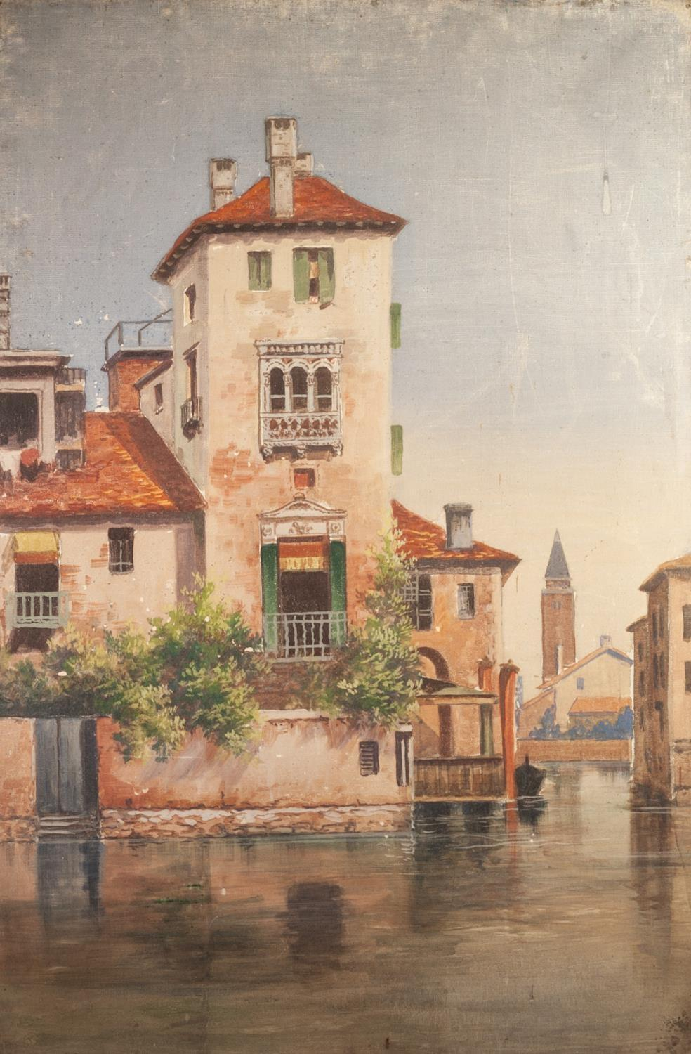 """Lot 239 - BRITISH SCHOOL (LATE 19th CENTURY) OIL PAINTING ON CANVAS A pair Venetian back-waters 36"""" x 24"""" ("""